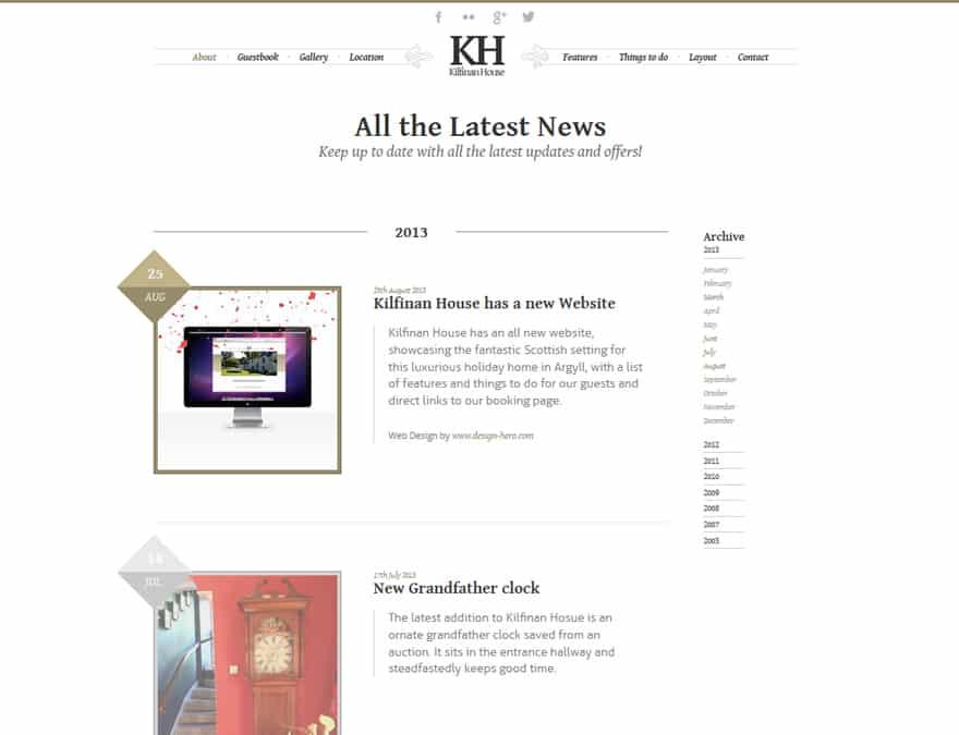 Blog and news for hotel website design