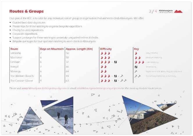 Brochure design for Kilimanjaro climbing company