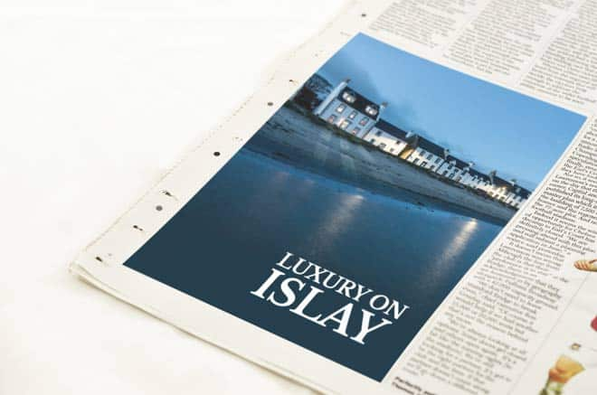 newspaper advert for Luxury on Islay