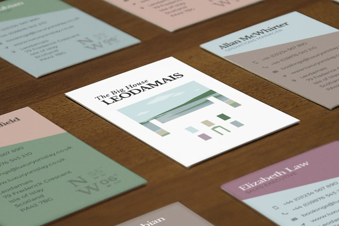 Design of business cards for Luxury on Islay