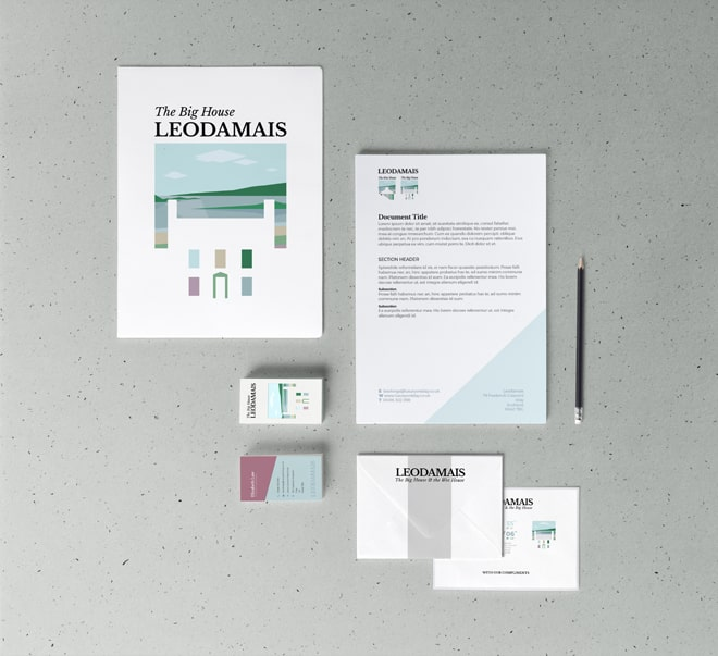 design of branded stationery for Leodamais