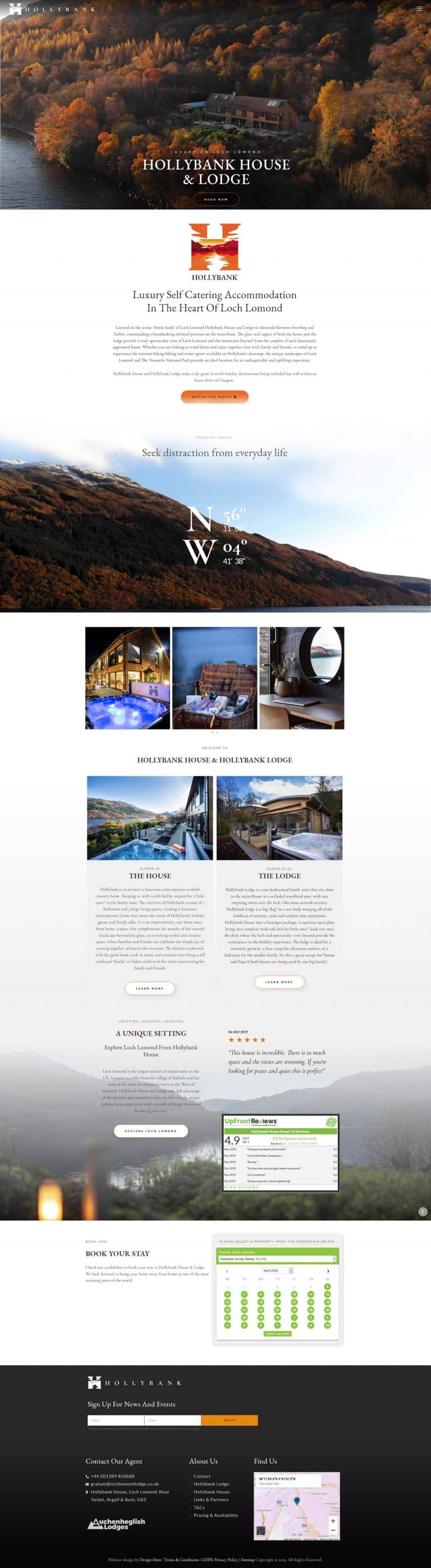 design of booking website for self catering accommodation and holiday cottages
