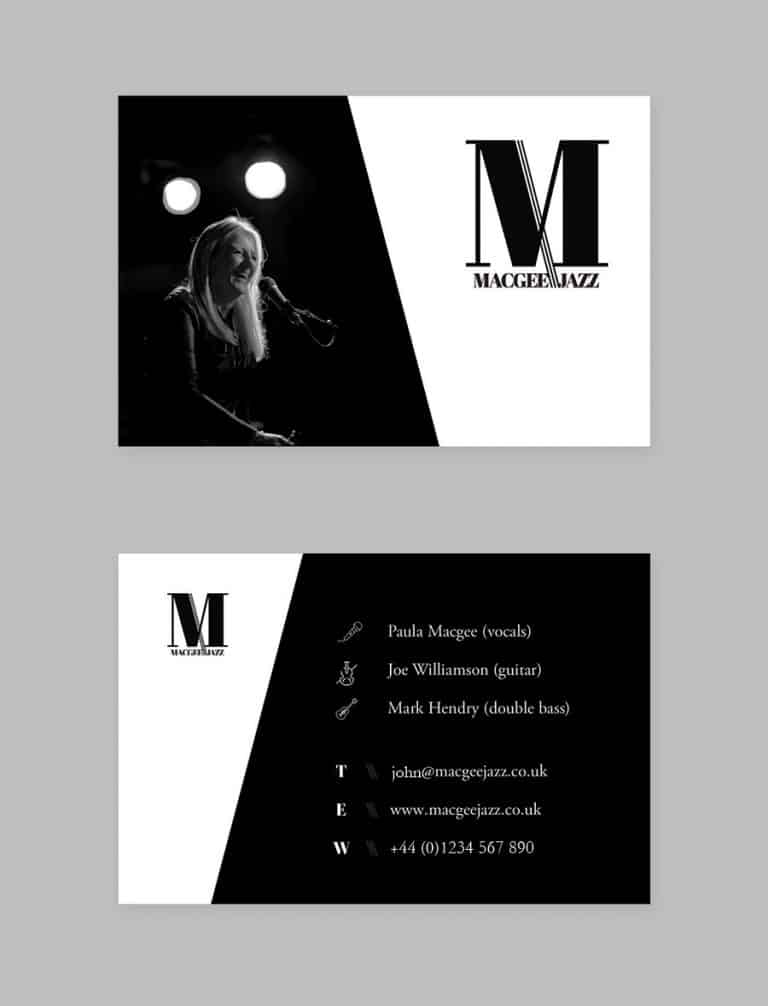 design of business cards for musician