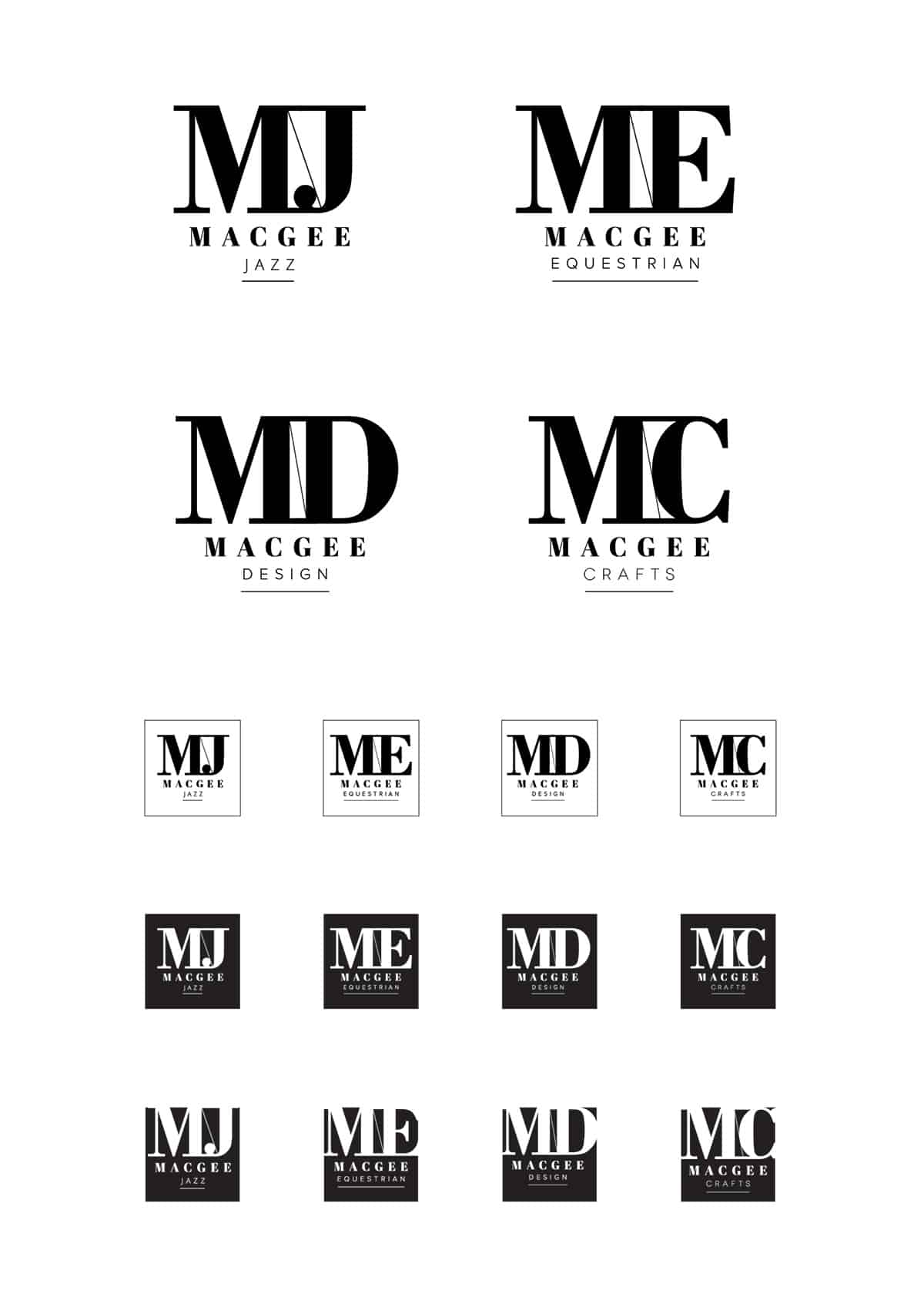logo concepts for Macgee Jazz Brand