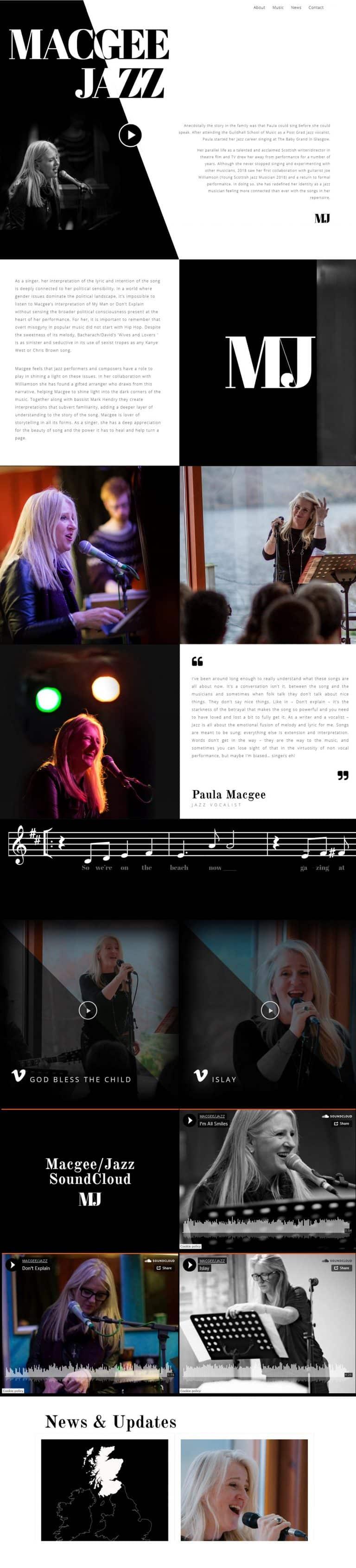 design of website for musician