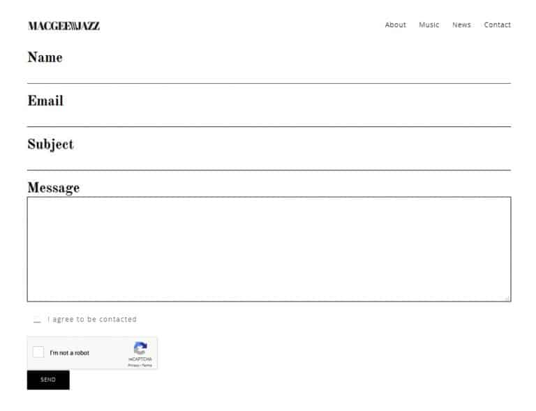 contact form design for member profile website