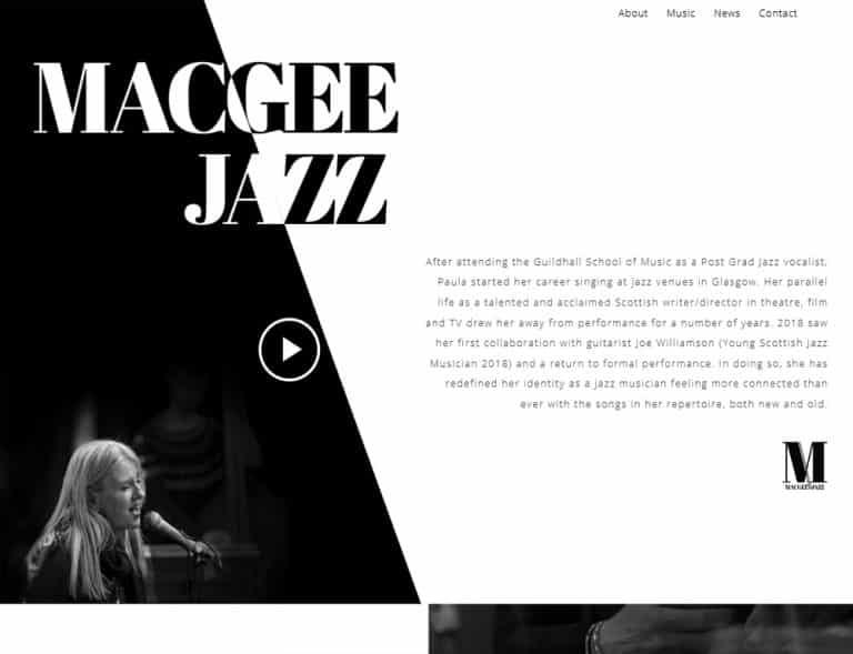 landing page design for musician profile website