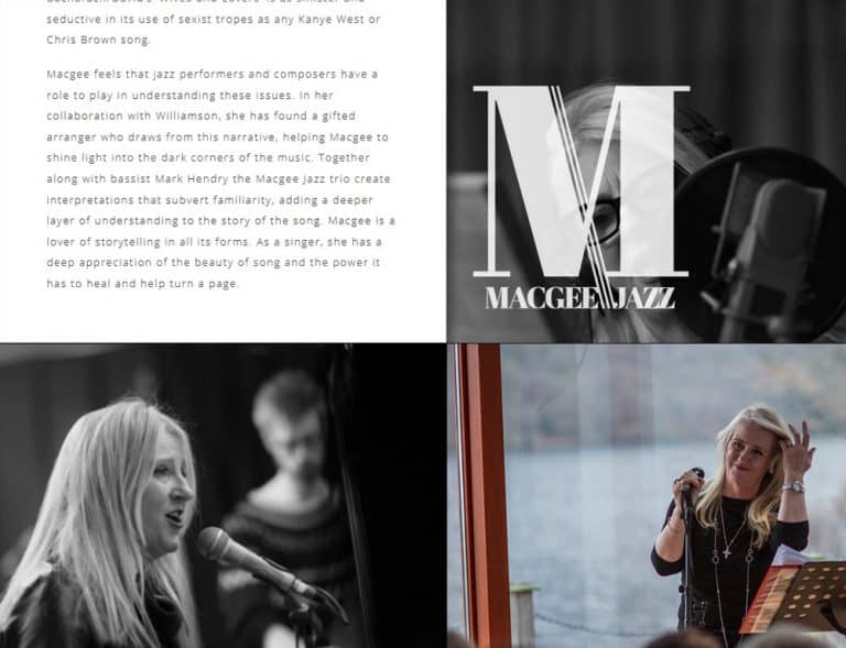 personal online profile website for jazz musician