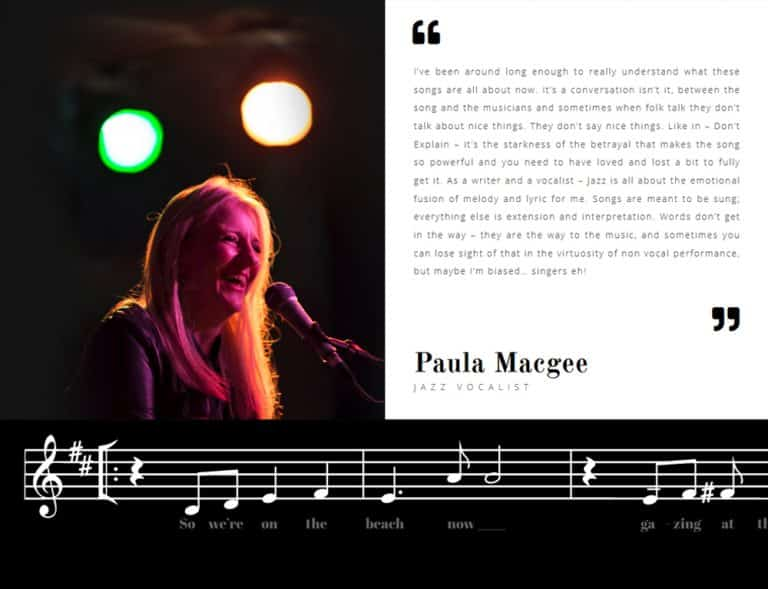 persona online profile for jazz musician website