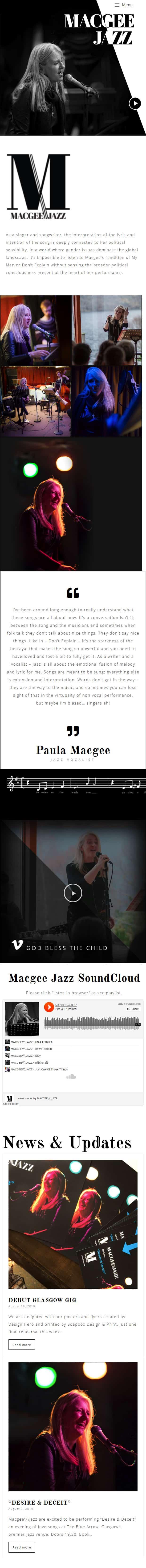 design of mobile first website for jazz musician