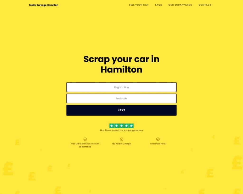 Landing page design for motoring website
