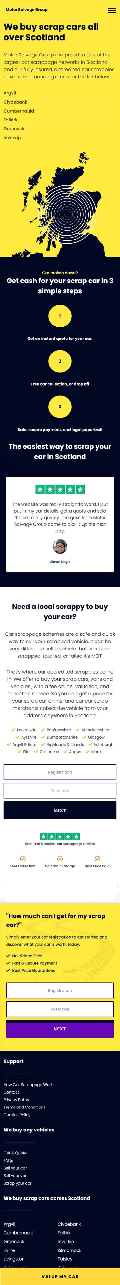 mobile website for car business