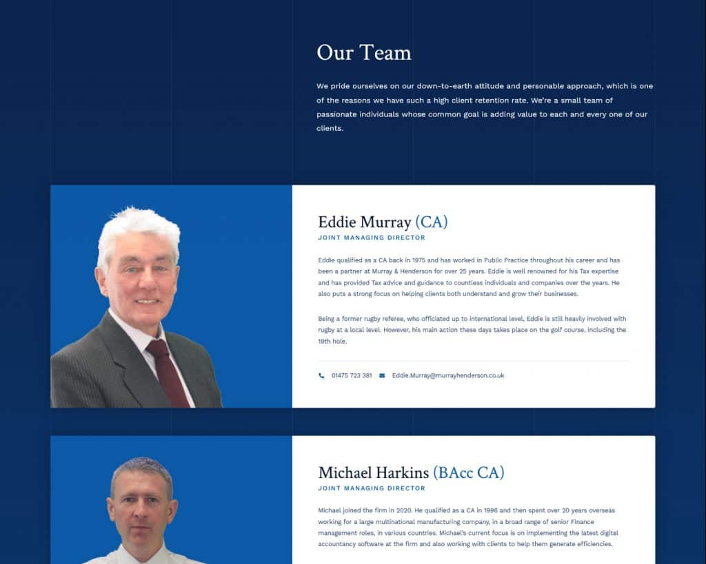 website designed for chartered accountants