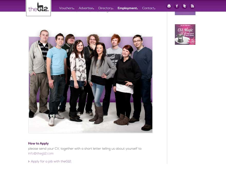 careers page for events and discount website