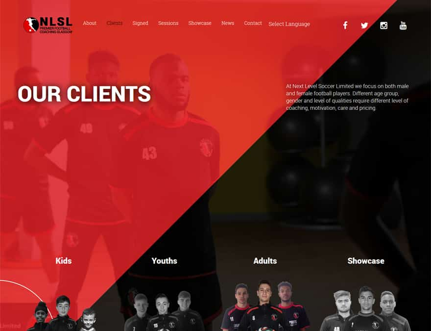 clients page design for sports membership website
