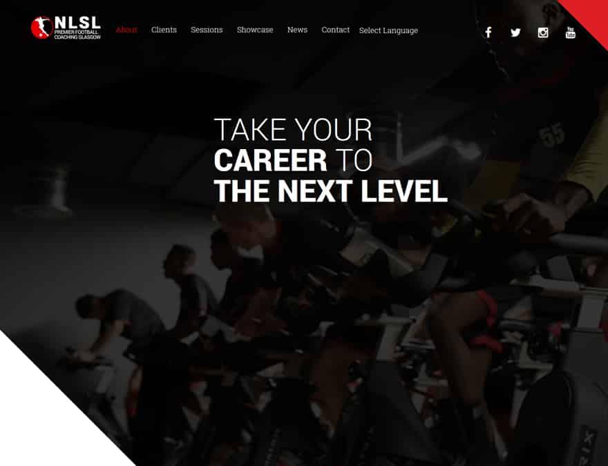 landing page design for sports membership website