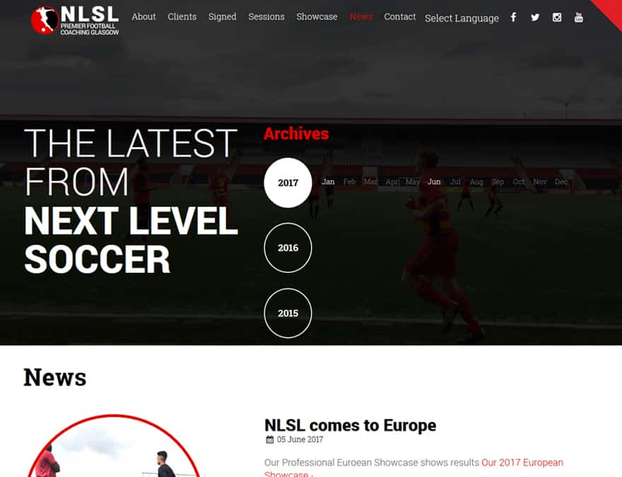 News and events for sports membership website