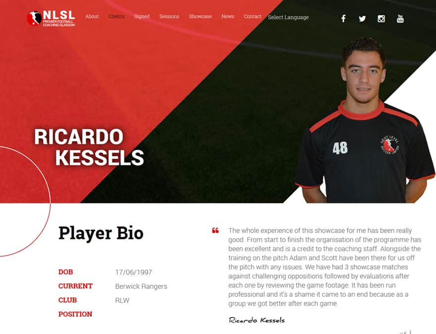 design of player profile page for sports membership website