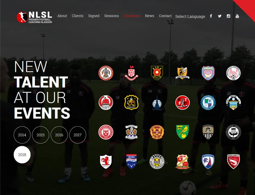 showcase page for sports membership website