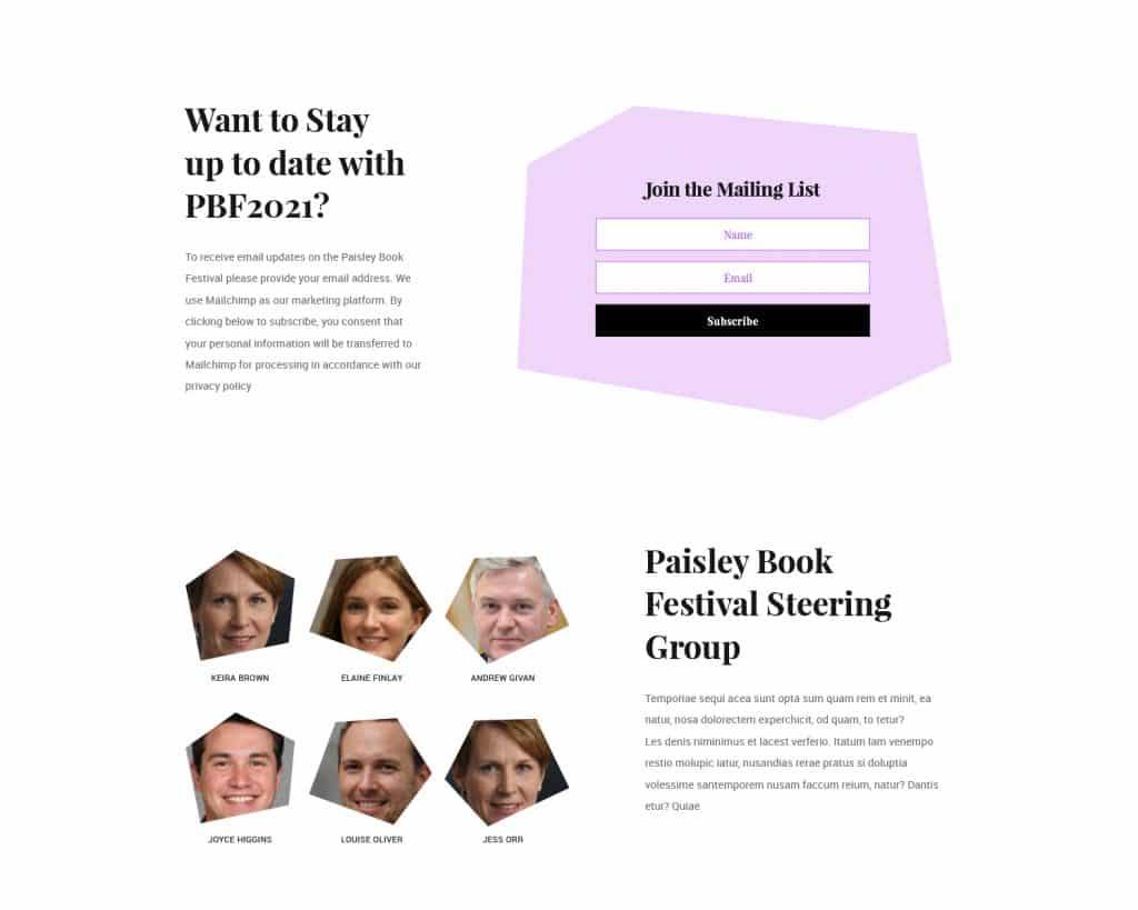 Newsletter for Paisley Book Festival 2021 website