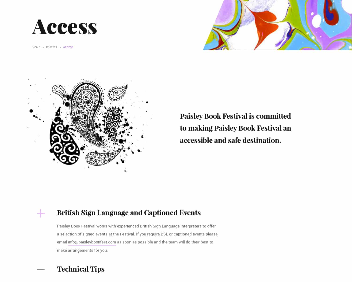 Accessibility design for Paisley Book Festival 2021 website