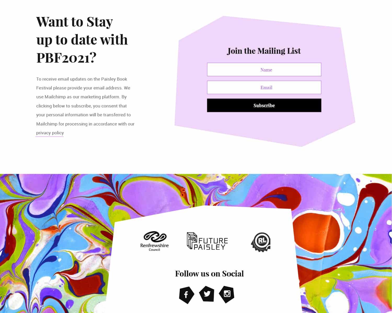 The new website design for Paisley Book Festival 2021