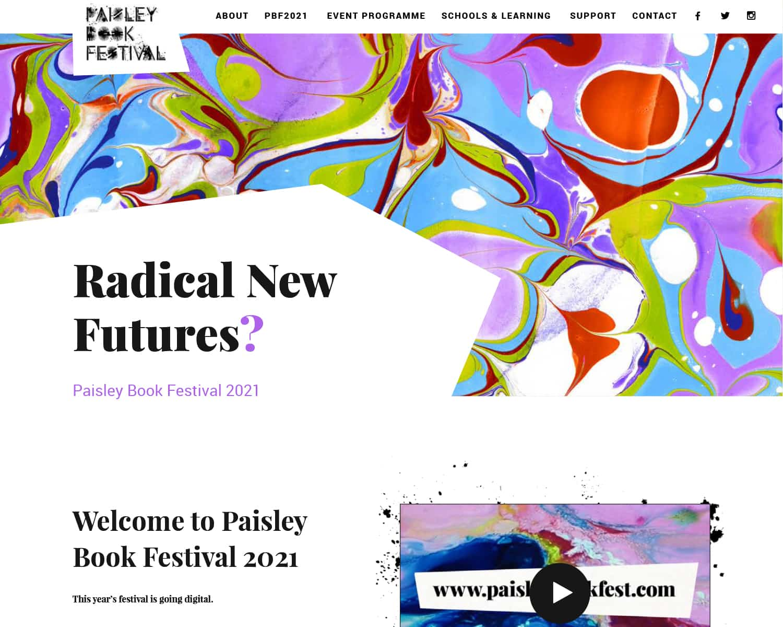Mobile web design for Paisley Book Festival 2021