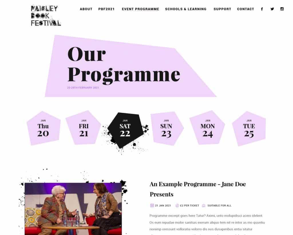 online programme for Paisley Book Festival 2021 website