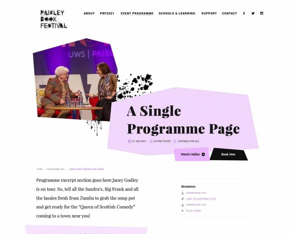 UX design for Paisley Book Festival 2021 website