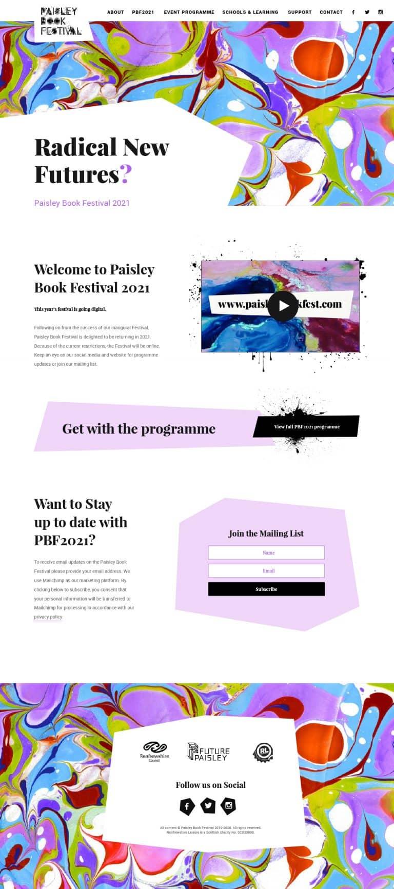 website design for Paisley Book Festival 2021