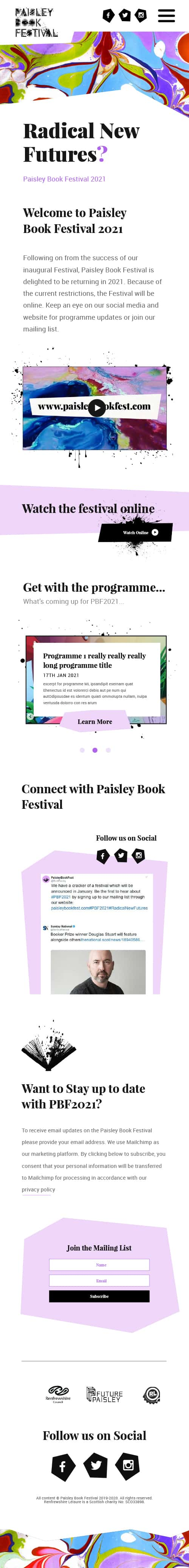 Mobile website for Paisley Book Festival 2021