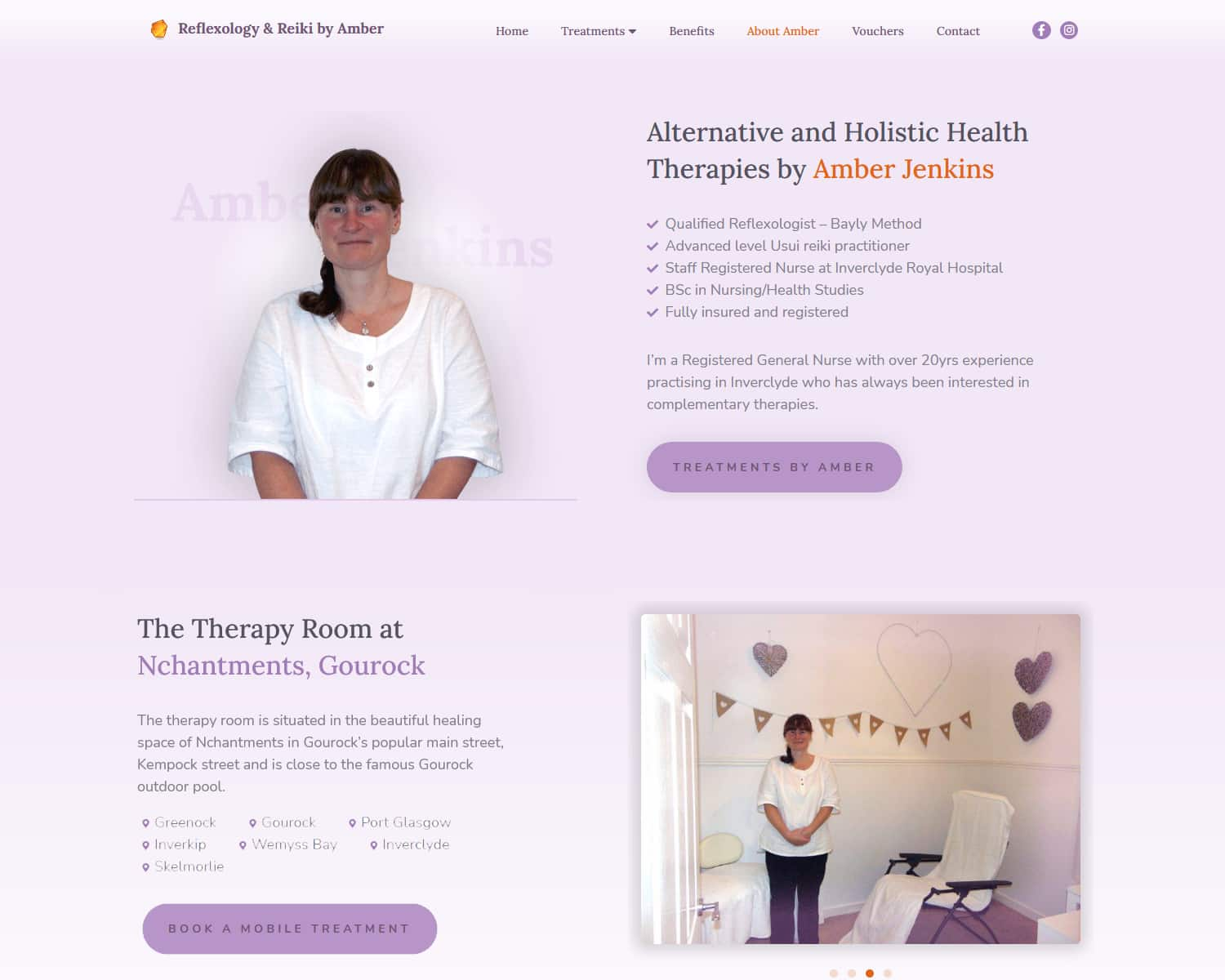 about page on therapist website design in Gourock