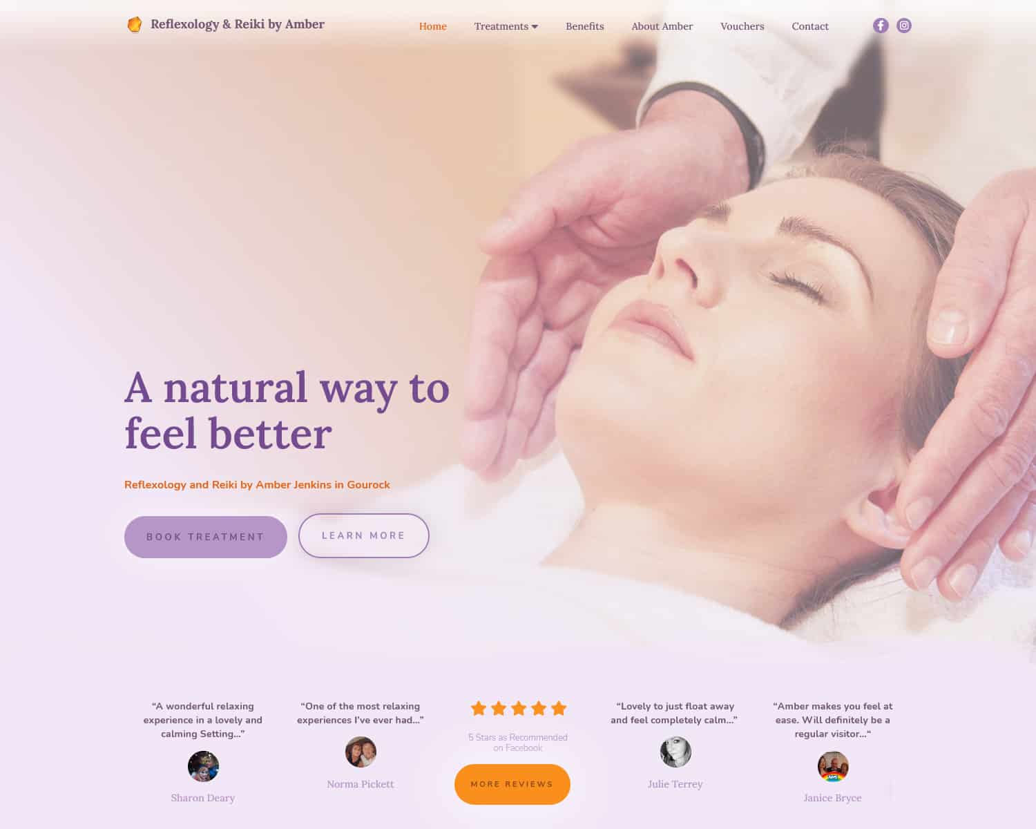 website homepage design for therapist business in Gourock