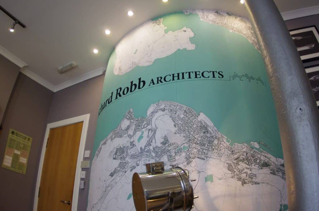 Branded wall mural for Richard Robb Architects