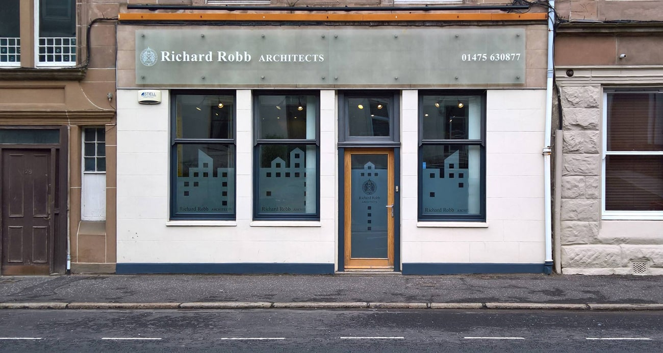 design of shop signage for an architect
