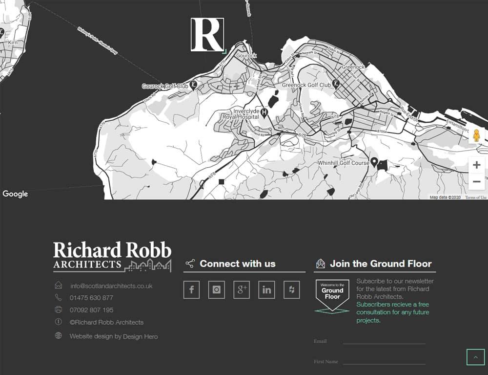 design of contact map for portfolio website