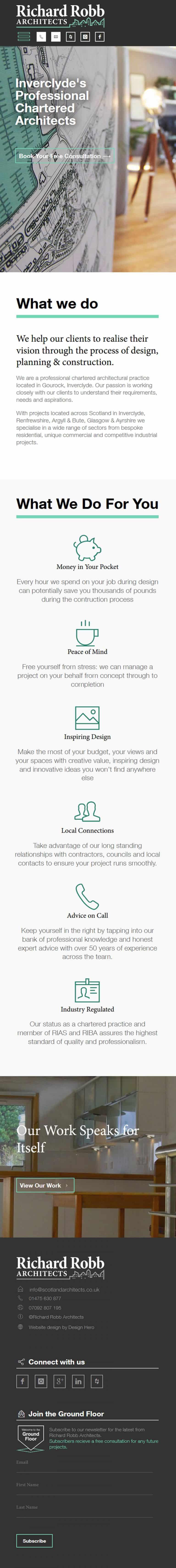 design of mobile portfolio website for Richard Robb Architects