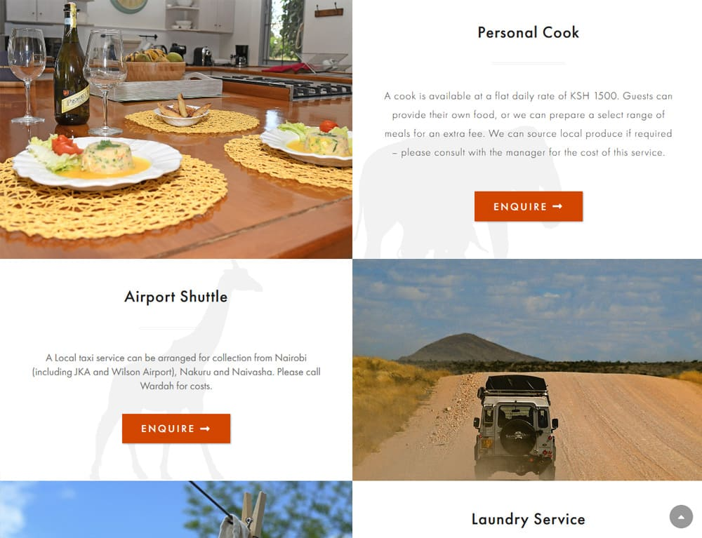 extras pagefor holiday booking website