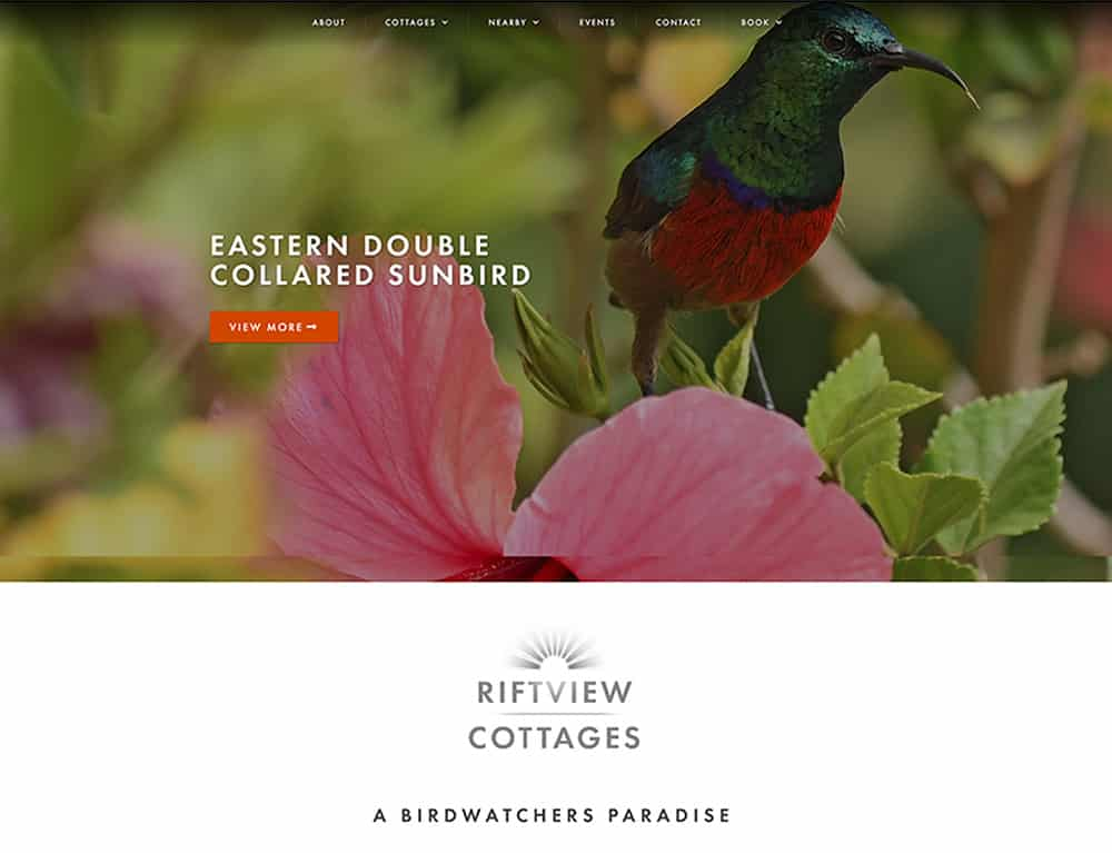 nature page for holiday booking website