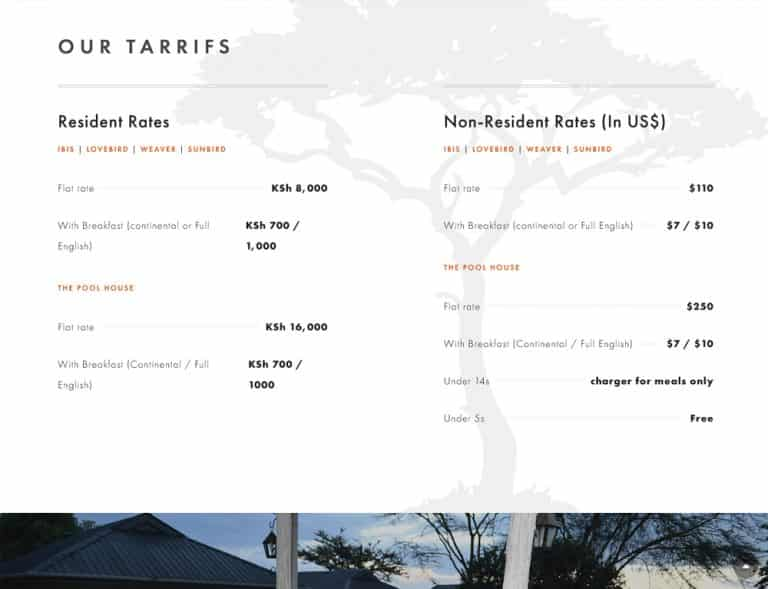 pricing design for holiday booking website