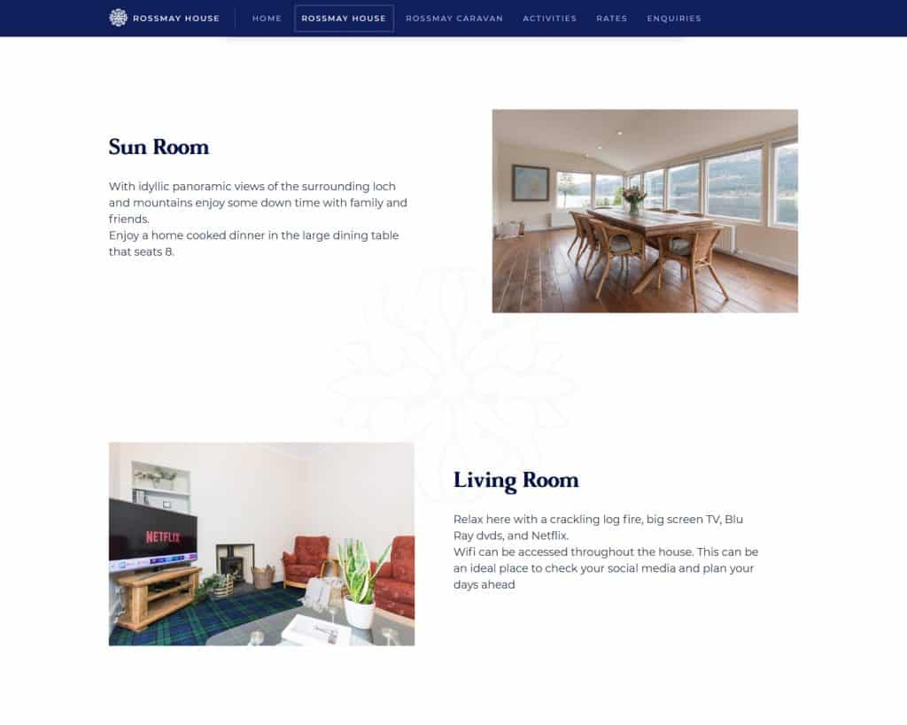 web design for holiday house in Loch Lomond