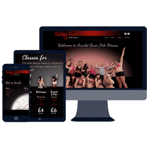 responsive website design for scarlet fever pole fitness