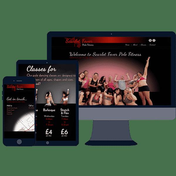 responsive website design for scarlet fever pole fitness
