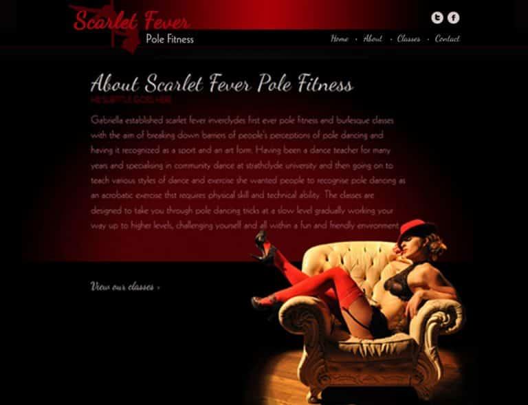 web design for pole fitness website
