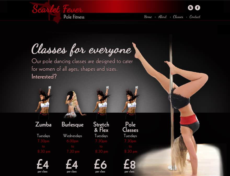 classes page design for pole fitness website