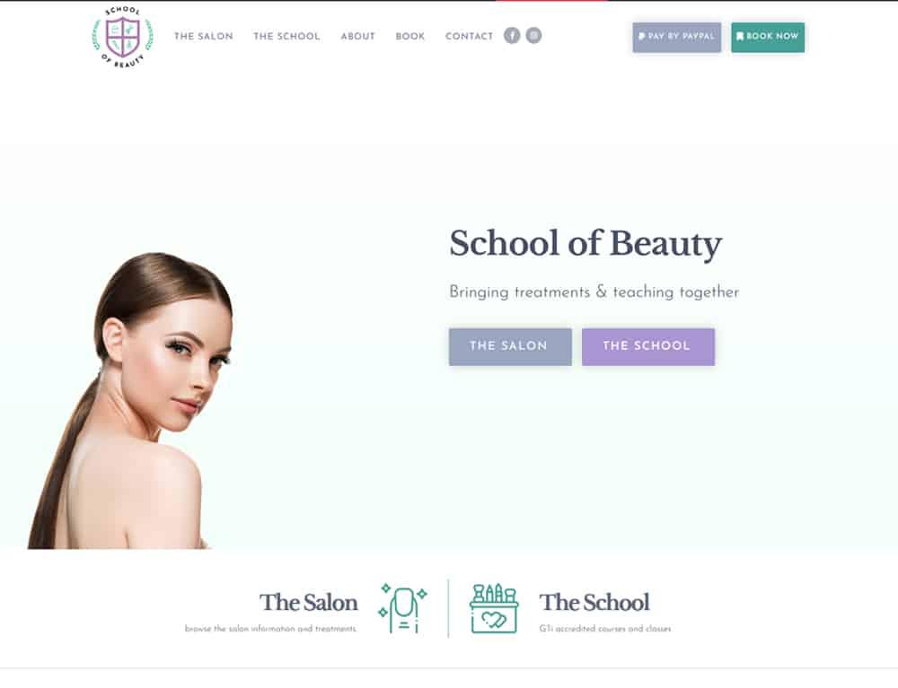 School of Beauty website homepage design