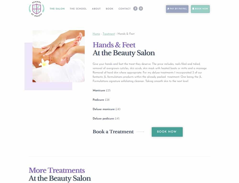 online beauty treatment booking website