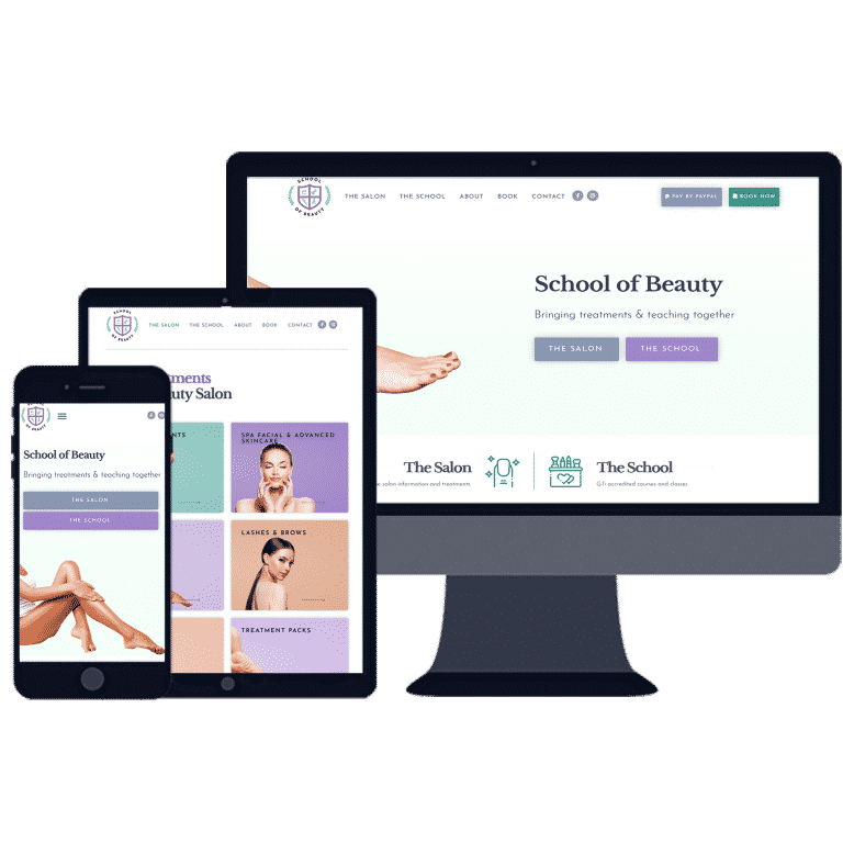 responsive website design for School of Beauty business