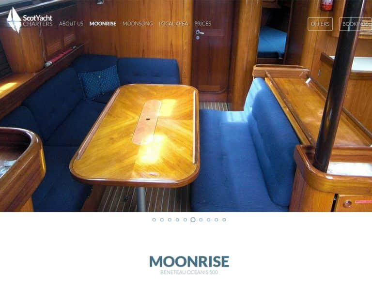yacht page design for budget business website