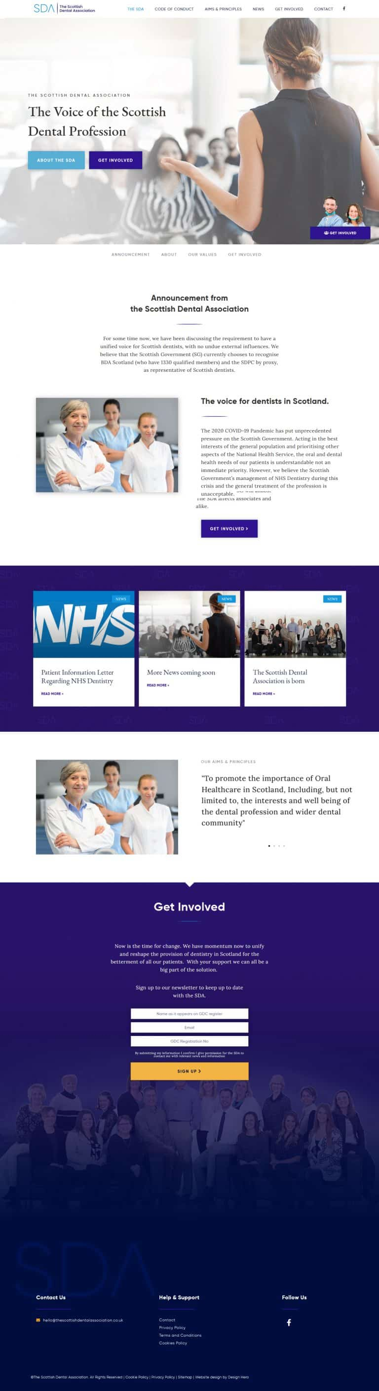 Homepage design for Scottish dental association website